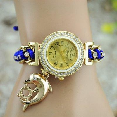 Гаджет   Geneva Dolphin Pendant Steel + Cloth Band Women Quartz Watch Women