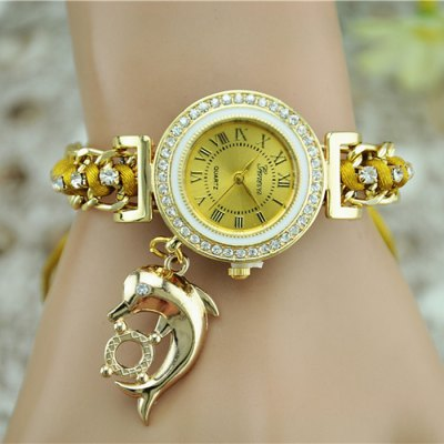 Geneva Dolphin Pendant Steel + Cloth Band Women Quartz Watch