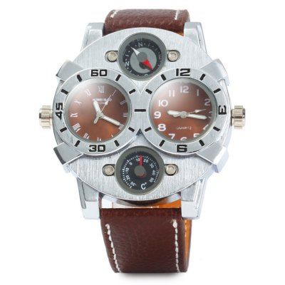 Гаджет   Shiweibao A1203 Leather Band Male Dual Movt Quartz Watch with Compass Function Men