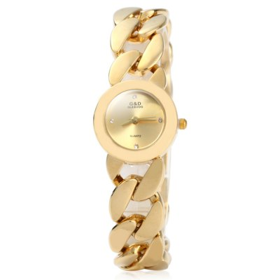 GND Quartz Bracelet Women Chain Watch with Hollow Out Alloy BandWomens Watches<br>GND Quartz Bracelet Women Chain Watch with Hollow Out Alloy Band<br><br>Brand: GND<br>Watches categories: Female table<br>Available color: White, Gold<br>Style : Fashion&amp;Casual, Bracelet<br>Movement type: Quartz watch<br>Shape of the dial: Round<br>Display type: Analog<br>Case material: Alloy<br>Band material: Alloys<br>Clasp type: Sheet folding clasp<br>The dial thickness: 0.5 cm / 0.2 inches<br>The dial diameter: 2.2 cm / 0.86 inches<br>The band width: 1.7 cm / 0.67 inches<br>Product weight: 0.079 kg<br>Package weight: 0.129 kg<br>Product size (L x W x H) : 23.5 x 2.2 x 0.5 cm / 9.24 x 0.86 x 0.20 inches<br>Package size (L x W x H): 24.5 x 3.2 x 1.5 cm / 9.63 x 1.26 x 0.59 inches<br>Package contents: 1 x GND Watch