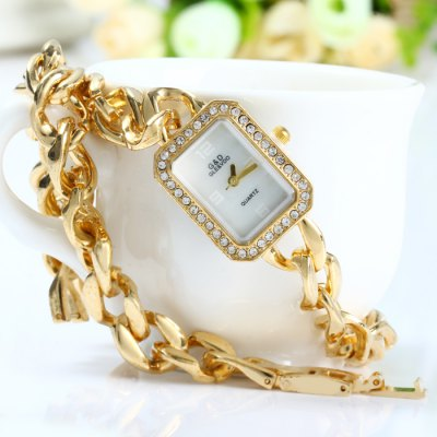 ФОТО GND Women Quartz Chain Watch with Hollow Out Alloy Band Diamond Bezel