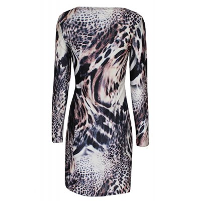 Fashionable Jewel Neck Long Sleeve Tiger Print Bodycon Dress For Women от GearBest.com INT