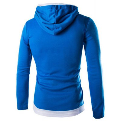 Гаджет   Trendy Slimming Hooded Simple Color Block Splicing Long Sleeve Cotton Blend Hoodie For Men Hoodies