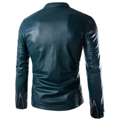 Гаджет   Stylish Slimming Stand Collar Oblique Zipper Placket Solid Color Long Sleeve PU Leather Coat For Men Jackets & Coats
