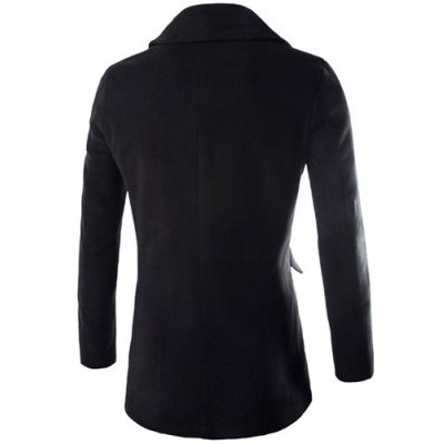 ФОТО Fashion Slimming Turndown Collar Double Breasted Solid Color Long Sleeve Woolen Blend Coat For Men