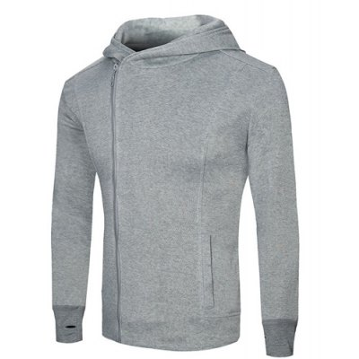 Fashion Slimming Hooded Oblique Zipper Placket Solid Color Long Sleeve Cotton Blend Hoodie For Men