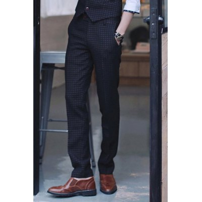 Гаджет   British Style Slimming Zipper Fly Checked Straight Leg Men
