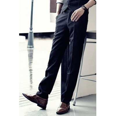 British Style Slimming Zipper Fly Checked Straight Leg Men's Pants от GearBest.com INT