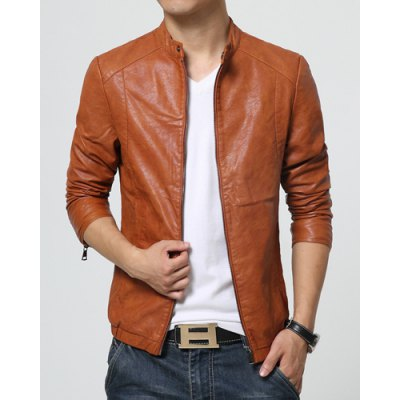 Гаджет   Slimming Stand Collar PU-Leather Zipper Embellished Long Sleeve Men