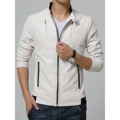 Гаджет   Stand Collar Rib Splicing Long Sleeve PU-Leather Zipper Embellished Men