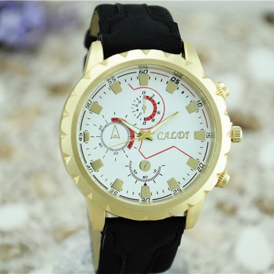 CALDT Male Quartz Watch with Leather + Cloth Band