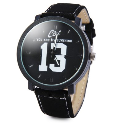 Men Quartz Watch with Big Number Leather Band
