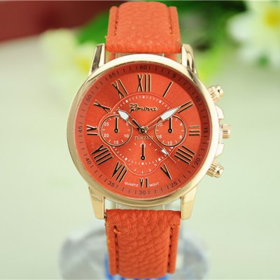 Geneva Women Double Scales Quartz Watch with Leather BandWomens Watches<br>Geneva Women Double Scales Quartz Watch with Leather Band<br><br>Brand: Geneva<br>Watches categories: Female table<br>Available color: Orange, Black, White, Pink, Green<br>Style : Fashion&amp;Casual<br>Movement type: Quartz watch<br>Shape of the dial: Round<br>Display type: Analog<br>Case material: Stainless steel<br>Band material: Leather<br>Special features: Decorating small sub-dials<br>The dial thickness: 0.7 cm / 0.27 inches<br>The dial diameter: 4.0 cm / 1.57 inches<br>Product weight: 0.032 kg<br>Package weight: 0.082 kg<br>Product size (L x W x H) : 23 x 4 x 0.7 cm / 9.04 x 1.57 x 0.28 inches<br>Package size (L x W x H): 24 x 5 x 1.7 cm / 9.43 x 1.97 x 0.67 inches<br>Package contents: 1 x Geneva Watch