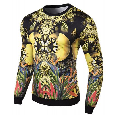 Фотография Hot Sale Round Neck 3D Colorized Animals and Plants Print Slimming Long Sleeves Men