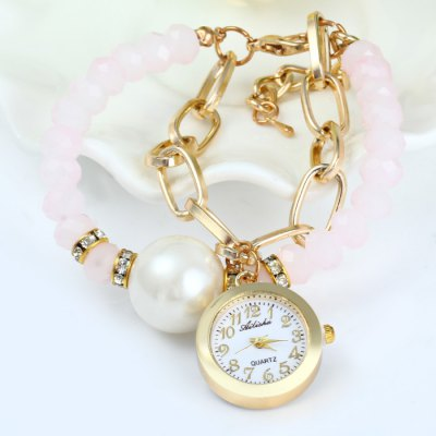 Ailisha Female Quartz Chain Watch with Beads Plastic + Steel BandWomens Watches<br>Ailisha Female Quartz Chain Watch with Beads Plastic + Steel Band<br><br>Brand: Ailisha<br>Watches categories: Female table<br>Available color: Gold<br>Style : Bracelet, Fashion&amp;Casual<br>Movement type: Quartz watch<br>Shape of the dial: Round<br>Display type: Analog<br>Case material: Steel<br>Band material: Plastic and steel<br>Clasp type: Hook buckle<br>The dial thickness: 0.6 cm / 0.24 inches<br>The dial diameter: 2.2 cm / 0.86 inches<br>Product weight: 0.027 kg<br>Package weight: 0.077 kg<br>Product size (L x W x H) : 18 x 2.2 x 0.6 cm / 7.07 x 0.86 x 0.24 inches<br>Package size (L x W x H): 19 x 3.2 x 1.6 cm / 7.47 x 1.26 x 0.63 inches<br>Package contents: 1 x Ailisha Watch