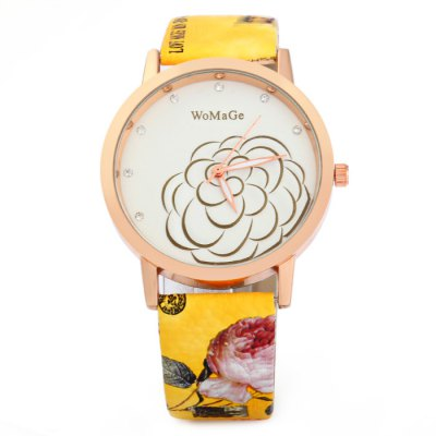 Гаджет   WoMaGe Women Quartz Watch with Colorful Leather Strap Camellia Pattern Women