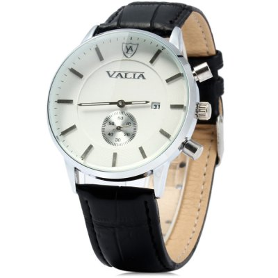 Valia 8281 Male Quartz Watch with Date Function Leather Band