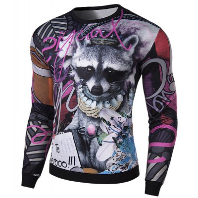 Гаджет   Funny 3D Abstract Animal Print Rib Spliced Slimming Round Neck Long Sleeves Men