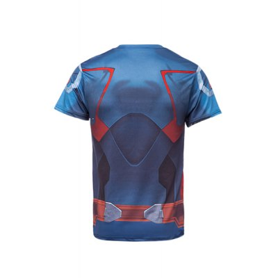 Гаджет   Stylish Skinny Round Neck 3D Captain America Print Short Sleeve Quick-Dry Superhero T-Shirt For Men T-Shirts