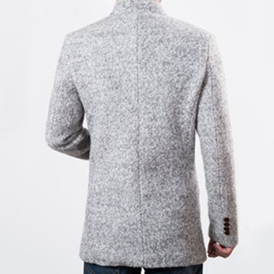 Slimming Stand Collar Long Sleeve Knit Blends Lengthen Men's Woolen Jacket от GearBest.com INT