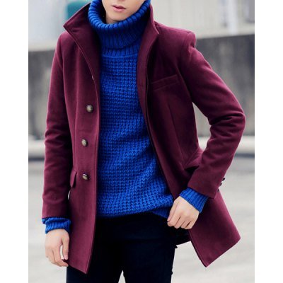 Гаджет   Solid Color Stand Collar Single Breasted Long Sleeve Lengthen Men