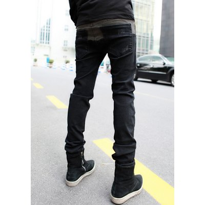 Zipper Fly Slimming Bleach Wash Narrow Feet Color Block Splicing Mens JeansMens Pants<br>Zipper Fly Slimming Bleach Wash Narrow Feet Color Block Splicing Mens Jeans<br><br>Material: Cotton, Jeans<br>Pant Length: Long Pants<br>Wash: Medium<br>Fit Type: Regular<br>Waist Type: Mid<br>Closure Type: Zipper Fly<br>Weight: 0.585KG<br>Pant Style: Pencil Pants<br>Package Contents: 1 x Jeans