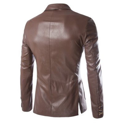 One Button Single-Breasted Stereo Patch Pocket Side Slit Lapel Long Sleeves Mens PU Leather CoatMens Jakets &amp; Coats<br>One Button Single-Breasted Stereo Patch Pocket Side Slit Lapel Long Sleeves Mens PU Leather Coat<br><br>Clothes Type: Leather &amp; Suede<br>Material: Faux Leather, Cotton<br>Collar: Turn-down Collar<br>Clothing Length: Regular<br>Style: Fashion<br>Weight: 0.700KG<br>Sleeve Length: Long Sleeves<br>Season: Fall<br>Package Contents: 1 x Coat