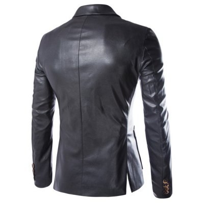 Гаджет   One Button Single-Breasted Stereo Patch Pocket Side Slit Lapel Long Sleeves Men