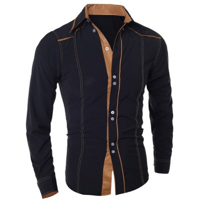 ФОТО Stylish Shirt Collar Slimming Color Block Sutures Design Long Sleeve Polyester Shirt For Men