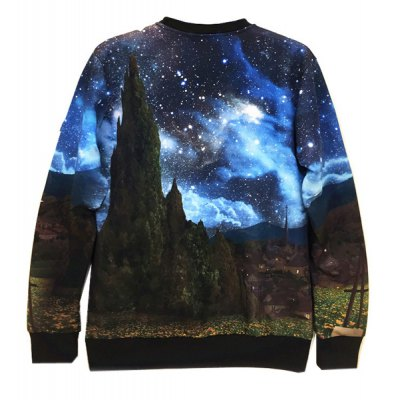 Round Neck 3D Starry Sky and Mountain Print Long Sleeve Slimming Men