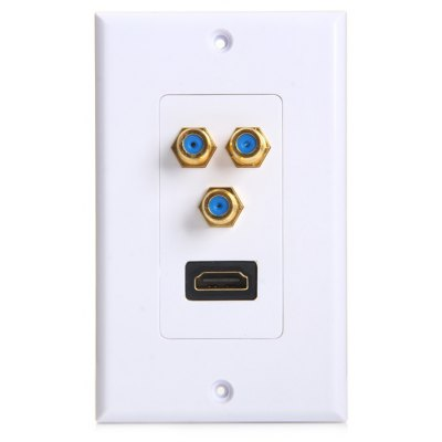 HDMI + 3 F Female to Female Adapter Connecter with Socket Wall Panel
