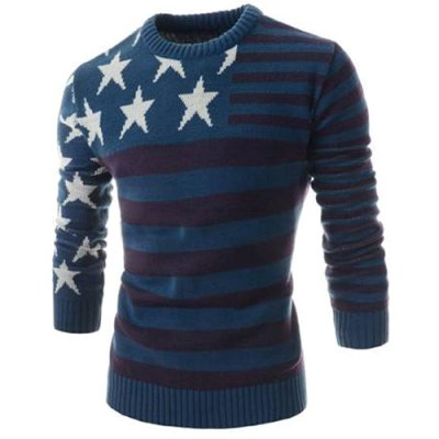 Гаджет   Classic Color Block Five-Pointed Star Intarsia Round Neck Long Sleeves Slim Fit Men