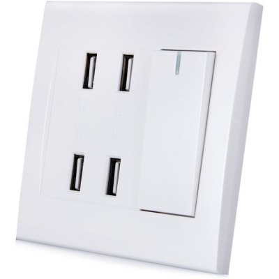 RNAi 904 4 Port USB Socket Wall Panel with Switch