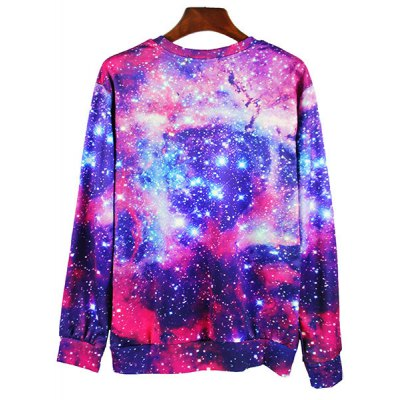 Гаджет   Round Neck 3D Starry Sky Cat Print Long Sleeve Slimming Men
