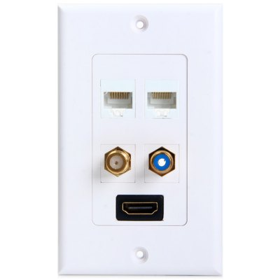 2 RJ45 + HDMI + F + RCA Connecter Socket Wall PanelPlugs &amp; Sockets<br>2 RJ45 + HDMI + F + RCA Connecter Socket Wall Panel<br><br>Product weight   : 0.070 kg<br>Package weight   : 0.130 kg<br>Product size (L x W x H)  : 11.5 x 7 x 5 cm / 4.52 x 2.75 x 1.97 inches<br>Package size (L x W x H)  : 15 x 11 x 7 cm / 5.90 x 4.32 x 2.75 inches<br>Package contents: 1 x 2 RJ45 + HDMI + F + RCA Adapter Connecter Socket Wall Panel, 1 x Bag of Accessary