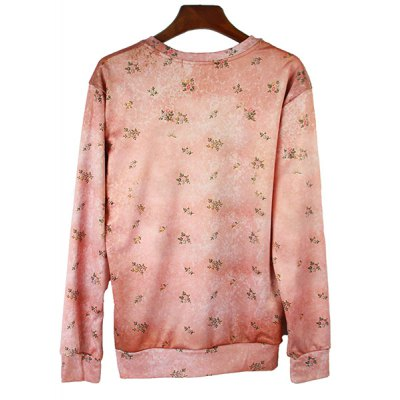 Гаджет   Round Neck Tiny Floral 3D Glasses Dog Print Long Sleeve Slimming Men
