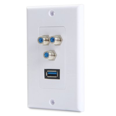 3 F + USB 3.0 Connector Socket Wall PanelPlugs &amp; Sockets<br>3 F + USB 3.0 Connector Socket Wall Panel<br><br>Product weight   : 0.068 kg<br>Package weight   : 0.128 kg<br>Product size (L x W x H)  : 11.5 x 7 x 4 cm / 4.52 x 2.75 x 1.57 inches<br>Package size (L x W x H)  : 15 x 11 x 6 cm / 5.90 x 4.32 x 2.36 inches<br>Package contents: 1 x USB 3.0 Female to Female Adapter Converter,  3 x F Female to Female Adapter Converter,  1 x Socket Wall Panel,  1 x Bag of Accessary