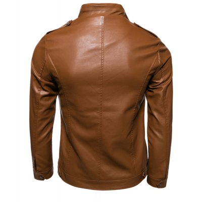 Slimming Rib Stand Collar Multi-Zipper Epaulet Design Long Sleeves Mens PU Leather Motorcycle JacketMens Jakets &amp; Coats<br>Slimming Rib Stand Collar Multi-Zipper Epaulet Design Long Sleeves Mens PU Leather Motorcycle Jacket<br><br>Clothes Type: Leather &amp; Suede<br>Material: Faux Leather, Cotton<br>Collar: Mandarin Collar<br>Clothing Length: Regular<br>Style: Fashion<br>Weight: 0.85KG<br>Sleeve Length: Long Sleeves<br>Season: Fall<br>Package Contents: 1 x Jacket