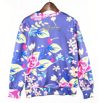 Гаджет   Round Neck 3D Sexy Cartoon Girl Flower Print Long Sleeve Slimming Men