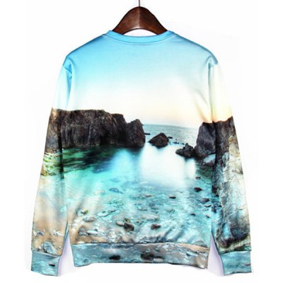 Round Neck 3D Beautiful Sea Print Long Sleeve Slimming Mens SweatshirtMens Sweaters &amp; Cardigans<br>Round Neck 3D Beautiful Sea Print Long Sleeve Slimming Mens Sweatshirt<br><br>Material: Polyester, Cotton<br>Clothing Length: Regular<br>Sleeve Length: Full<br>Style: Fashion<br>Weight: 0.375KG<br>Package Contents: 1 x Sweatshirt