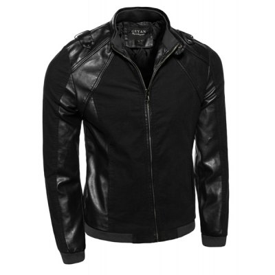 PU Leather Spliced Rib Hem Epaulet Design Stand Collar Long Sleeves Mens Slimming JacketMens Jakets &amp; Coats<br>PU Leather Spliced Rib Hem Epaulet Design Stand Collar Long Sleeves Mens Slimming Jacket<br><br>Clothes Type: Leather &amp; Suede<br>Material: Faux Leather, Cotton<br>Collar: Mandarin Collar<br>Clothing Length: Regular<br>Style: Fashion<br>Weight: 0.770KG<br>Sleeve Length: Long Sleeves<br>Season: Fall<br>Package Contents: 1 x Jacket