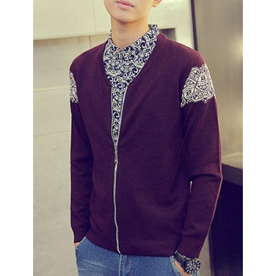Гаджет   Faux Twinset Shirt Collar Double Top Fly Tribal Print Hit Color Long Sleeves Men