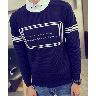 Гаджет   Hit Color Shirt Collar Stripes Letters Intarsia Slimming Long Sleeves Men