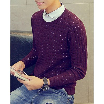 Hot Sale Hit Color Shirt Collar Special Plaid Pattern Long Sleeves Men's Slim Fit Faux Twinset Sweater от GearBest.com INT