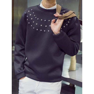 Гаджет   Exquisite Handmade Rivets Embellished Round Neck Long Sleeves Men