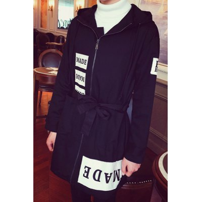 Здесь можно купить   Hooded Loose-Fitting Long Sleeve Zipper Print Appliques Lengthen Men