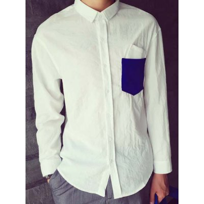 Гаджет   Turn-Down Collar Slimming Color Block Pocket Splicing Long Sleeve Men