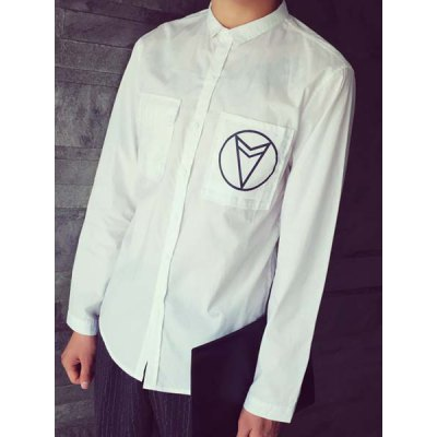 Гаджет   Letter Selvedge Embellished Turn-Down Collar Geometric Print Long Sleeve Men