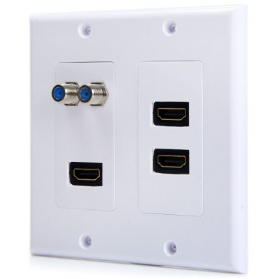 5 Port 3 HDMI 2 F Type Video HDTV Wall Plate