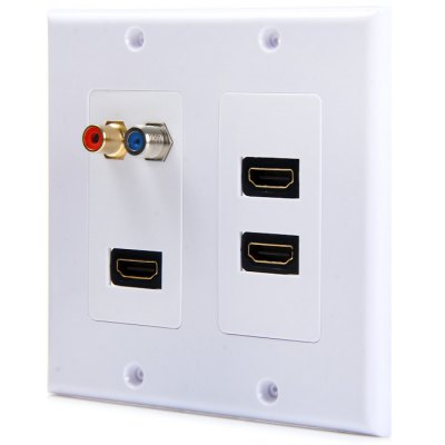 5 Port 3 HDMI 1 F Type 1 RCA Video HDTV Wall PlatePlugs &amp; Sockets<br>5 Port 3 HDMI 1 F Type 1 RCA Video HDTV Wall Plate<br><br>Color  : White<br>Product weight   : 0.101 kg<br>Package weight   : 0.122 kg<br>Product size (L x W x H)  : 11.8 x 11.6 x 3 cm / 4.64 x 4.56 x 1.18 inches<br>Package size (L x W x H)  : 12 x 12 x 2 cm / 4.72 x 4.72 x 0.79 inches<br>Package contents: 1 x Plate Frame, 1 x 2-Port HDMI Plate, 1 x Single-Port HDMI / Single-Port F / Single-Port RCA Plate, 3 x HDMI Female to Female Connector, 1 x RCA Female to Female Connector, 1 x F Female to Female Co